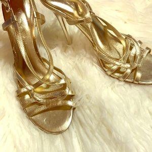 Euc Aldo Gold strappy high heels shoes 7